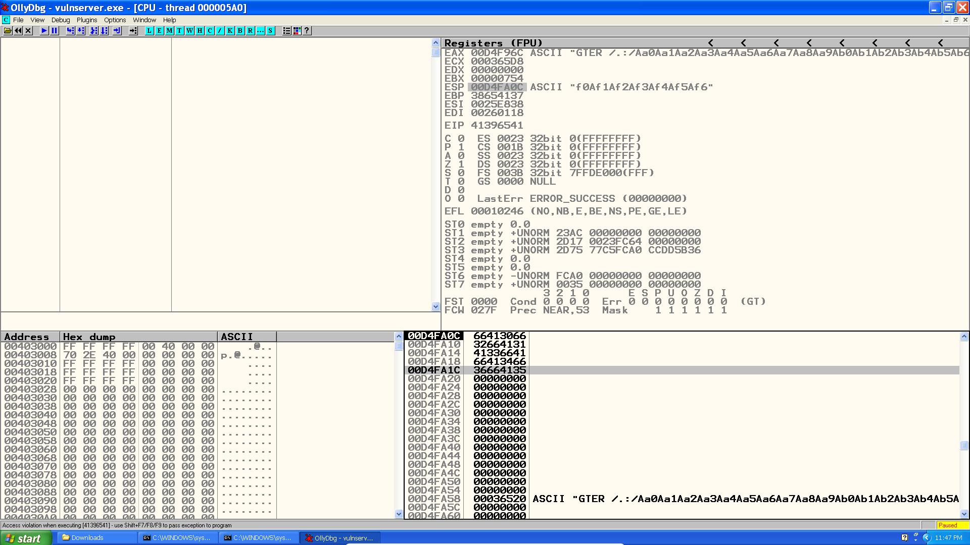 Exploiting Vulnserver GTER (egghunter + pwntools)